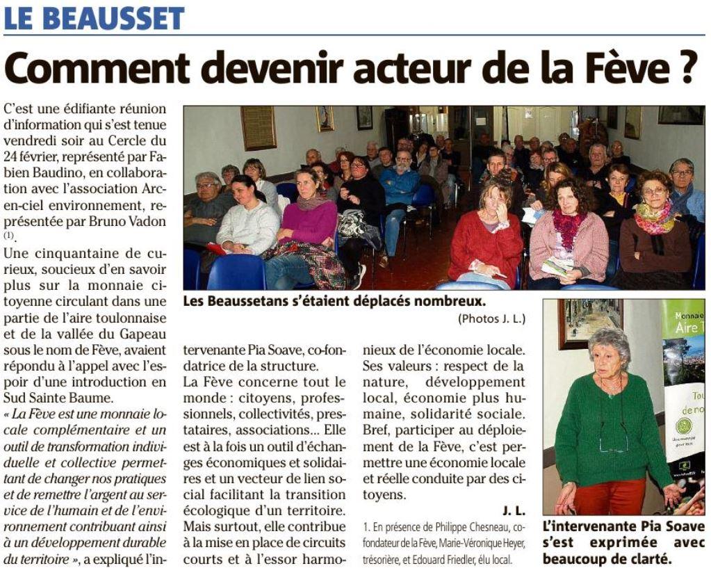 Article Var Matin réunion d'information Le Beausset